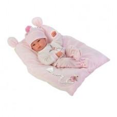 Детская Игровая Испанская Кукла Llorens малышка Бимба из винила в вязанной шапке на розовой подушке 35 см