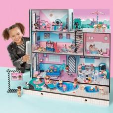 Большой Кукольный Дом 3 этажа, бассейн для кукол ЛОЛ, свет и музыка, 85 сюрпризов и 3 куколки - LOL Surprise!