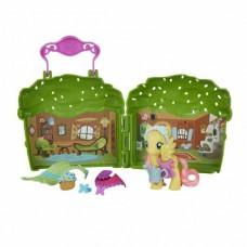 Детский Игровой Мини-Набор с Пони и Раскладной Домик Hasbro Моя маленькая пони Флатершай My Little Pony