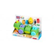 Детский Игровой Конструктор-Каталка Веселая гусеница, из 10 элементов с 3 мелодиями - Move'n Groove, Mega Bloks