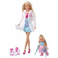Игровой Набор Детский доктор с Куклами Штеффи и Еви и медицинскими аксессуарами - Steffi Love Child Doctor Simba