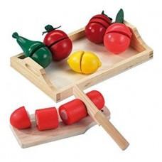 Детский Игровой Развивающий Деревянный Набор Поднос с ножом, досочкой, овощами и фруктами Happy People