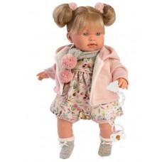 Игровая Испанская Говорящая виниловая Кукла Llorens Alexandra - Александра плачущая в платье и куртке, 42 см