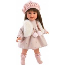 Игровая Испанская Кукла Llorens Leti из винила с темными волосами в розовом платье и меховом жилете, 40см