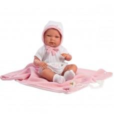Игровая Испанская Кукла Llorens малышка Ника виниловая в белом костюме с двусторонним одеялом и соской 40см