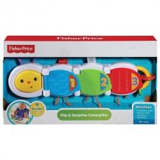 Развивающая Тактильная Игрушка цветная Гусеница для малышей для развития моторики с пищалкой, Fisher price