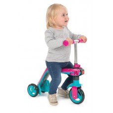 Детский Самокат Беговел 2в1 для детей от 1.5 лет, руль 53-63 см, прорезиненные колеса, розовый, Smoby Смоби