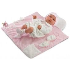 Детская Игровая Испанская Подвижная Кукла Младенец с соской и одеждой Тина с ковриком 43 см Llorens из винила