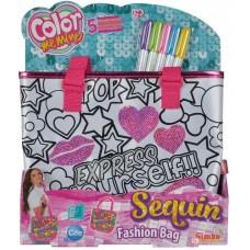 Детская Сумочка-Рюкзак Для Девочек Раскраска с 5 перманентными маркерами Color me mine Simba Симба 28х7х34 см