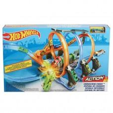 Игровой Набор для мальчиков Хот Вилс Петли ужасов: 3 ускорителя и спиральный трек - Hot Wheels Corkscrew Crash
