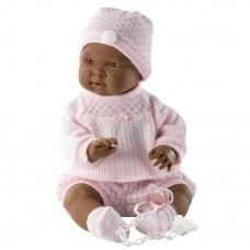 Детская Игровая Испанская Подвижная Кукла для девочек Нахия мулатка с соской в розовом 45 см Llorens из винила