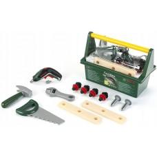Игровой набор для мальчиков Ящик для инструментов Bosch с 15 элементами, шуруповертом и дощечками, Klein