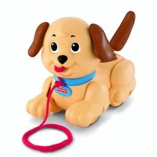 Игрушка Детская Подвижный Щенок Маленький Снуппи со звуком с поводком на бесшумных колесах Fisher-Price