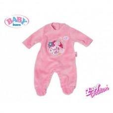 Детский Игровой Комбинезон велюровый для куклы-пупса розовый с зайчиком Baby Born 43 см Zapf Creation