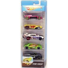 Игрушка Детская Для Мальчиков Подарочный Набор Машинок гоночные 5 штук Хот Вилс Stunt Circuit Team Hot Wheels