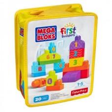 Детский Игровой Развивающий Конструктор Строй и учись считать, крупные детали, First Builders, Mega Blocks