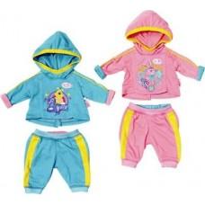 Детский Игровой Спортивный костюмчик для Куклы олимпийка с капюшоном 43 см Беби Борн Baby Born Zapf Creation