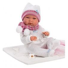 Игровая Испанская Кукла Llorens Nika малышка Ника из винила в белом комбинезоне, шапочке с шарфом, высота 40см