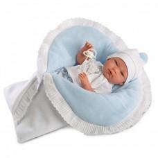 Игровая Испанская Кукла Llorens Nico малыш Нико виниловый в комбинезоне с двусторонним одеялом с отделкой 38см