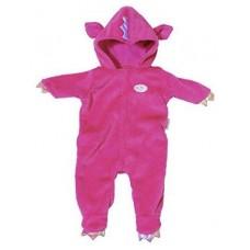 Детский Игровой Костюм розовый с капюшоном и ушками на молнии для куклы Бэби Борн 43см Baby Born Zapf Creation