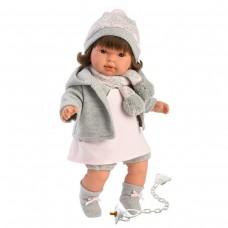 Детская Игровая Испанская Подвижная Говорящая Кукла для девочек Пиппа брюнетка с соской 42см Llorens из винила