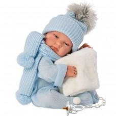 Детская Игровая Испанская Подвижная Кукла Младенец с соской Тино в синем комбинезоне 43 см Llorens из винила