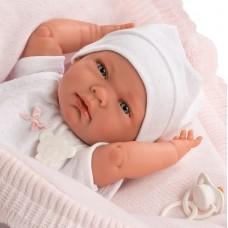 Детская Игровая Испанская Кукла Llorens Младенец Ника в белой блузке, шапке и штанишках 40 см из винила