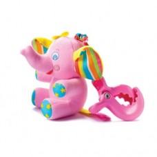 Детская Мягкая Тактильная Игрушка-Подвеска розовая с вибрацией и бубенчиками Слоненок Элси Tiny Love Тини Лав