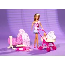 Детская Игровая Кукла Штеффи 29 см Набор С младенцем коляской, манежем и аксессуарами Steffi Simba Симба
