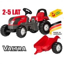 Детский Педальный Трактор красный с прицепом и рельефными колесами с багажным отсеком Kid Valtra Rolly toys