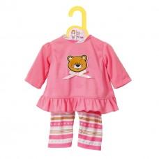 Детская Игровая Одежда для куклы Бэби Борн розовая с медвежонком и лосинами 38-46 см Baby born Zapf Creation