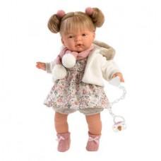 Игровая Испанская Кукла Llorens Жоель из винила в цветочном платье с шарфом и меховой шубке с капюшоном, 38см