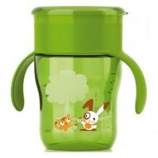 Детская Чашка непроливайка для малышей с 12 мес с ручками и защитой от протекания зеленая 260мл, Philips Avent