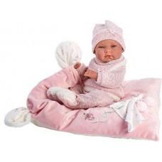 Игровая Испанская Кукла Llorens малышка Ника виниловая в вязаном костюме на розовой подушке с соской, 38 см