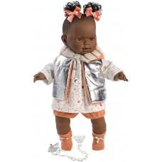 Игровая Испанская Кукла Llorens Николь из винила плачущая в бело-оранжевом костюме и блестящем жилете, 42см