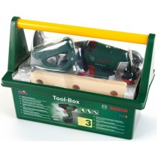 Игровой набор для мальчиков Ящик с инструментами Bosch: шуруповертом с поворотным эффектом, звук и свет, Klein