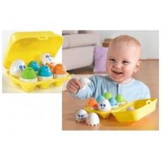 Детская Развивающая Логическая Игрушка Сортер Забавные Яйца 6 штук, сортировка цвета, формы, эмоции Tomy Томи