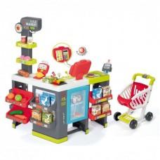 Детский Игровой Интерактивный Развивающий Набор Макси Маркет с электронной кассой 50 предм., 83х60х90 см Smoby