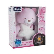 Детская Подвесная Мягкая Игрушка Ночник Медвежонок розовый с мелодиями и звуками природы регулируемый Сhicco