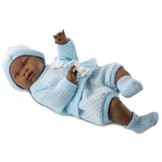 Детская Игровая Испанская Подвижная Кукла Nino 45 см мулат в вязаном костюме с соской Llorens из винила