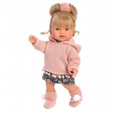 Детская Игровая Моющаяся Испанская Кукла Ллоренс Валерия 28см в розовой толстовке и юбке Llorens Juan, винил