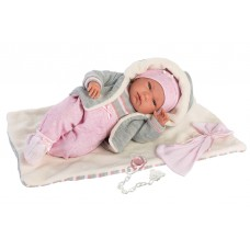 Детская Игровая Испанская кукла Ллоренс Малышка Ника 38 см в розовом костюме, с одеялом и подгузником Llorens