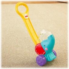 Детская Развивающая Игрушка-каталка Слоник с 3 разноцв. шариками, высота со съемной ручкой 50 см, Fisher-Price