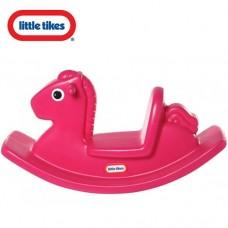 Игровая Качалка Лошадка со спинкой и ручками для детей от 1 года до 3 лет Little Tikes, розовая, 86х29х43см