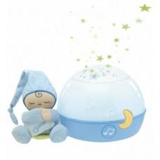 Детский Музыкальный Ночник Проектор Первые грезы с мягкой игрушкой Человечком First Dreams Chicco, голубой