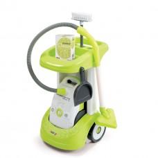 Детская Игрушечная Тележка для уборки с пылесосом зеленая со звуковым эффектом на колесах Rowenta Smoby Смоби