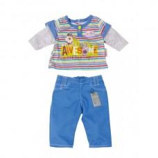 Детская Игровая Одежда для Куклы Бэби Борн Костюм для мальчика синий с серым 43 см Baby Born Zapf Creation