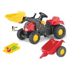 Детский Педальный Трактор с прицепом Rolly Toys, со звуковыми эффектами, ковшом и бесшумными колесами, КРАСНЫЙ 58867-14 tst-292306494