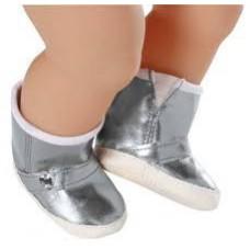 Игрушечная Обувь для куклы Бэби Борн Зимние теплые сапожки блестящие серебристые, Baby Born Zapf Creation