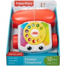 Детский Игровой Развивающий Телефон на колесах говорящий с крутящимся диском белый Fisher-Price Mattel Маттел